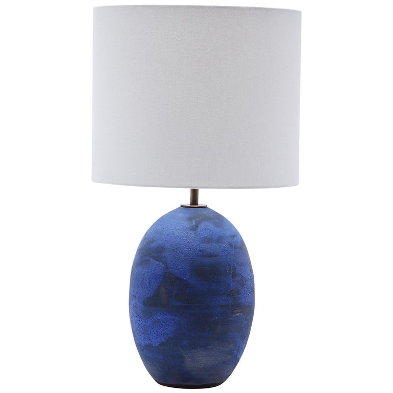 Blue Black Oval Lamp by Victoria Morris for Lawson-Fenning For Sale