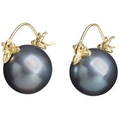 Gabrielle Sanchez Blue-Black Round Tahitian Pearl 18 Karat Flyer Earrings