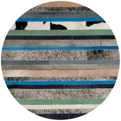 Blue Black & White Customizable Round Nueva Raya Cowhide Area Floor Rug Medium
