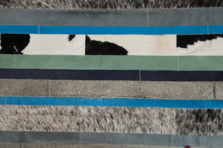Art Deco Blue, Black & White Stripes Nueva Raya Customizable Cowhide Area Rug Large For Sale