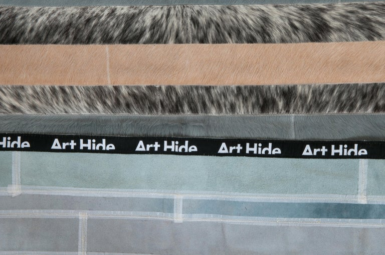 Hand-Knotted Blue, Black & White Stripes Nueva Raya Customizable Cowhide Area Rug Large For Sale