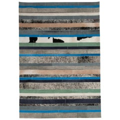 Blue, Black & White Stripes Nueva Raya Customizable Cowhide Area Rug Large