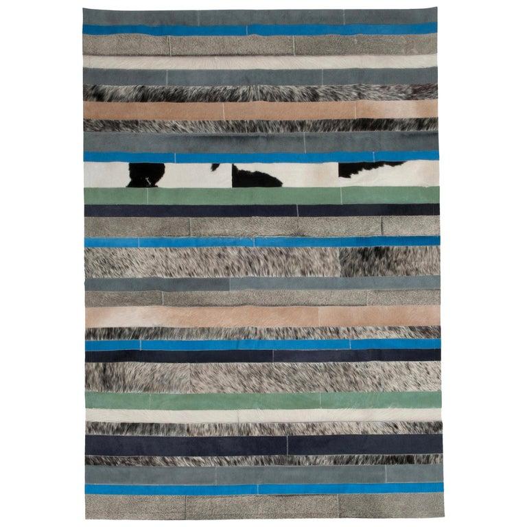 Blue, Black & White Stripes Nueva Raya Customizable Cowhide Area Rug Large For Sale