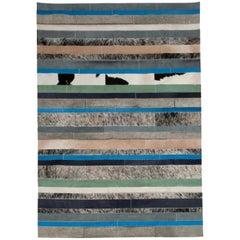 Blue, Black & White Stripes Nueva Raya Customizable Cowhide Area Rug Medium