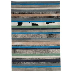 Blue, Black & White Stripes Nueva Raya Customizable Cowhide Area Rug X-Large
