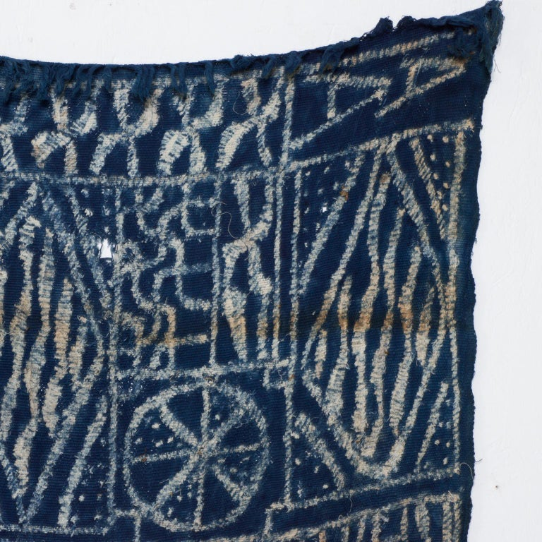 For your pleasure: Vintage BLUE Handwoven KUBA Cloth Ceremonial Textile Tapestry, Blanket, Hanging Wall Art, Congo Central Africa.  Authentic, handmade African KUBA Cloth Fabric. KUBA cloth is handwoven using the strands from raffia palm