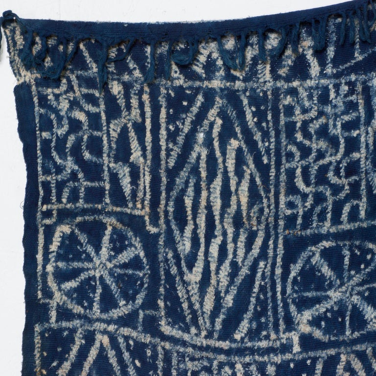 Tribal Blue Blanket Handwoven Kuba Cloth Ceremonial Tapestry Hanging Wall Art - Africa For Sale