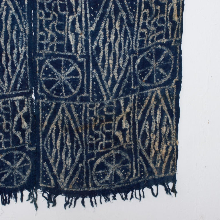 Blue Blanket Handwoven Kuba Cloth Ceremonial Tapestry Hanging Wall Art - Africa In Good Condition For Sale In National City, CA