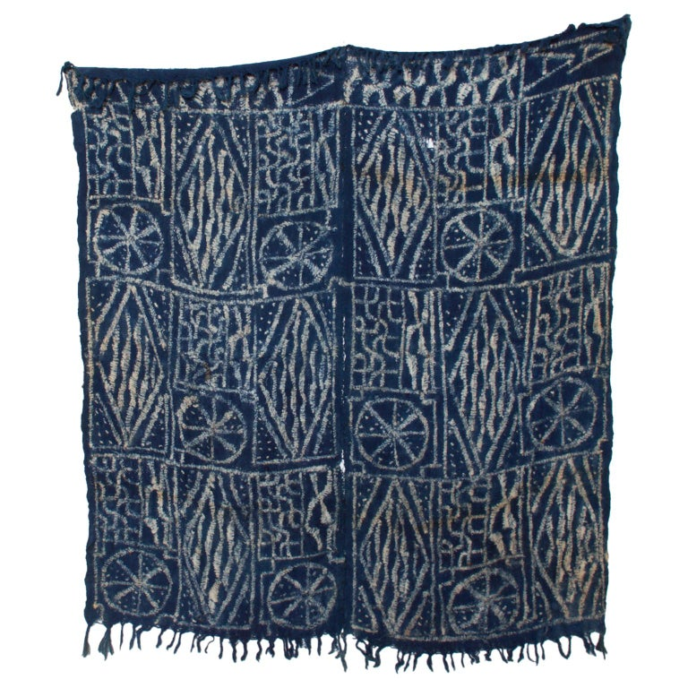 Blue Blanket Handwoven Kuba Cloth Ceremonial Tapestry Hanging Wall Art - Africa For Sale