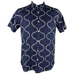 BLUE BLUE JAPAN Size XL Indigo Print Cotton Button Down Short Sleeve Shirt
