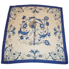 "Blue Border ""Peacocks Among Floral"" Silk Scarf"
