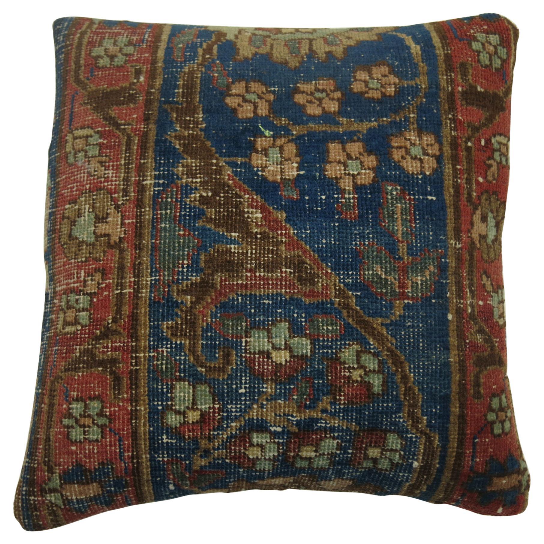 Blue Border Tabriz Rug Pillow