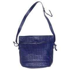 Blue Bottega Veneta Intrecciato Shoulder Bag