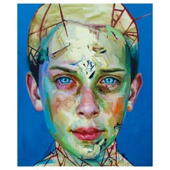 Justin Bower Abstract Oil Painting on Canvas 'Blue Boy 2'
