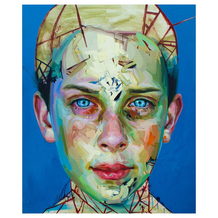 Justin Bower Abstract Oil Painting on Canvas 'Blue Boy 2' For Sale
