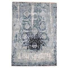 Blue Broken Persian Tabriz Erased Design Wool and Silk Hand Knotted rug