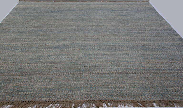 Indian Blue, Brown and Ivory Contemporary Hemp Rug For Sale