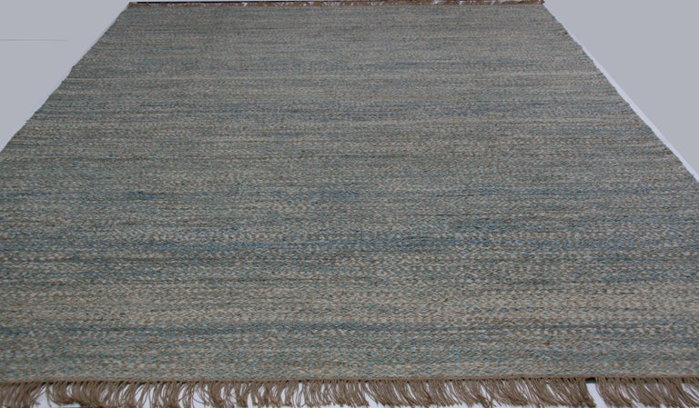 Hand-Knotted Blue, Brown and Ivory Contemporary Hemp Rug For Sale