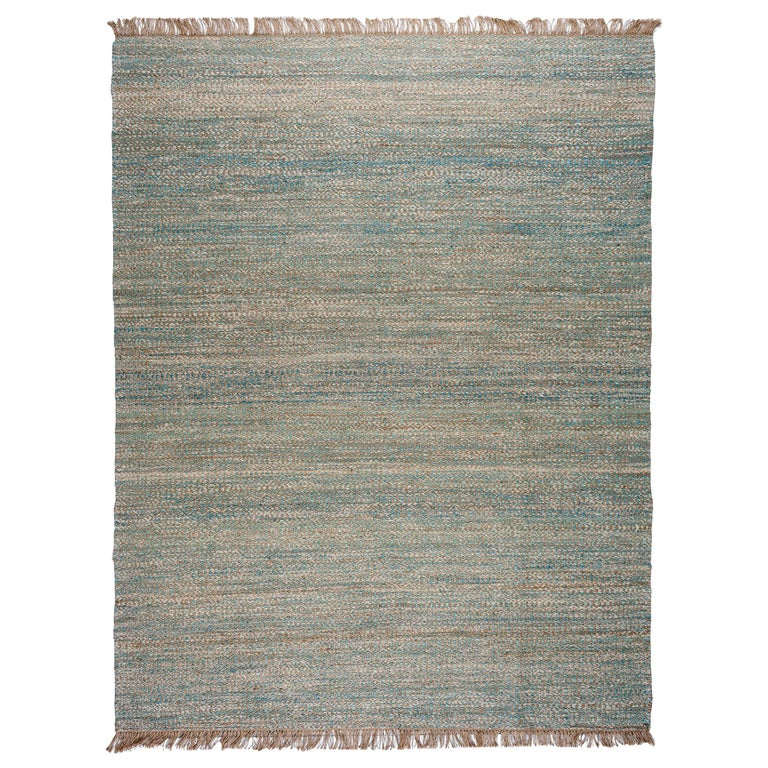 Blue, Brown and Ivory Contemporary Hemp Rug For Sale