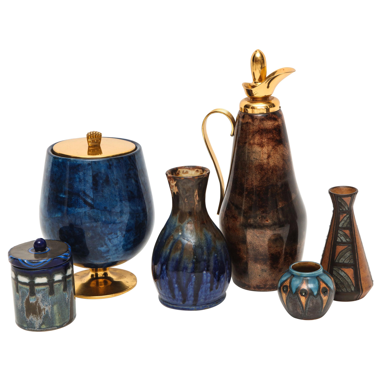 Blue Brown Ceramics Tura Ice Bucket Pitcher French Italian Laborne Quimper Vase