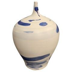 Blue Brush Strokes On White Ceramic Vase, China, Contemporary