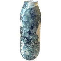 Blue Bubble Design on White Tall Ceramic Vase, Netherlands, Contemporary