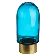 Blue Bullet Shaped Glass Vase