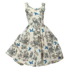 Blue Butterfly Sketch New Look Ballerina Sundress with Bib Points - XS, 1950s