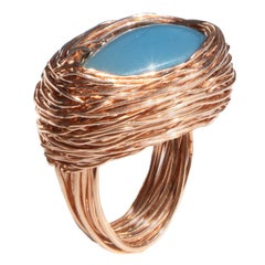 Drop Shape Cabochon Pure Blue Chalcedony Rose Gold Statement Cocktail Ring