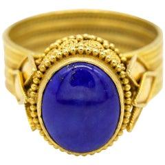 Blue Cabochon Oval Shape Gemstone 22 Karat Yellow Gold Ring