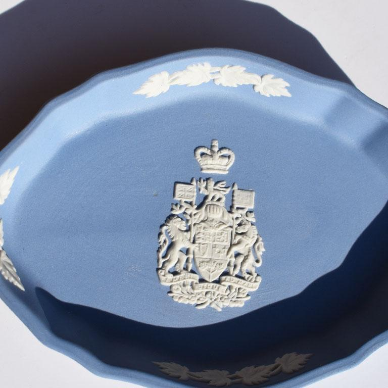Neoclassical Blue Canada Coat of Arms Wedgwood Jasperware Dish, England For Sale
