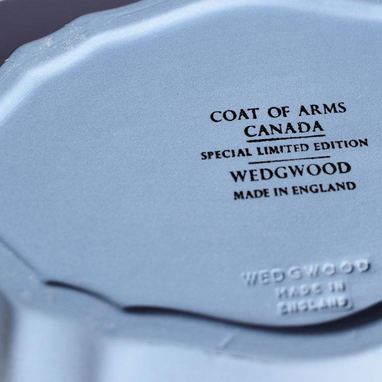 English Blue Canada Coat of Arms Wedgwood Jasperware Dish, England For Sale