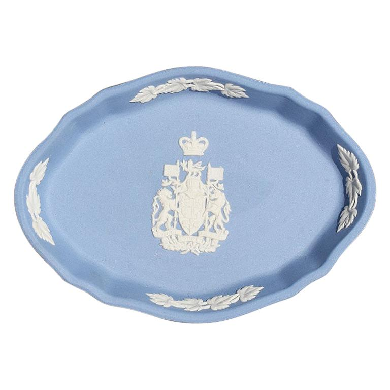 Blue Canada Coat of Arms Wedgwood Jasperware Dish, England For Sale