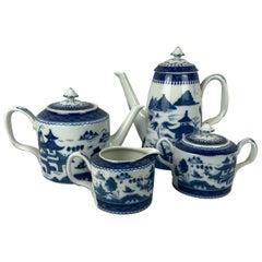 Blue Canton Porcelain Coffee, Tea Service by Vista Alegre for Mottahedeh