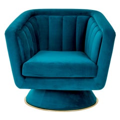 Blue Caprice Swivel Armchair with Brushed Brass Detail on Base