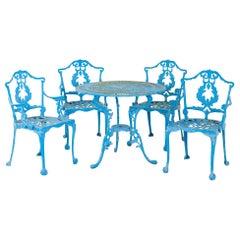 Blue Cast Iron Garden Dining Set