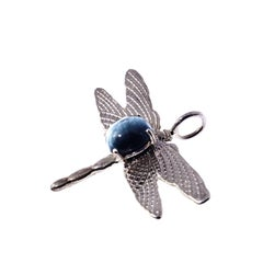 Gemjunky Blue Cat's Eye Tourmaline Set in Sterling Silver Dragonfly Pendant