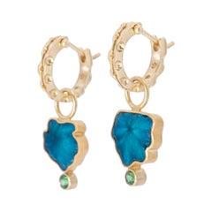 Blue Cavansite and Tsavorite Leaf Earrings in 18 Karat and 22 Karat Gold