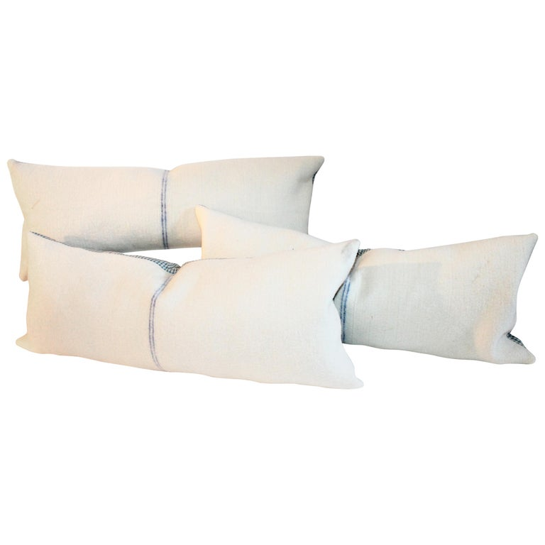 Blue Center Stripe Lambs Wool Pillows, Three For Sale