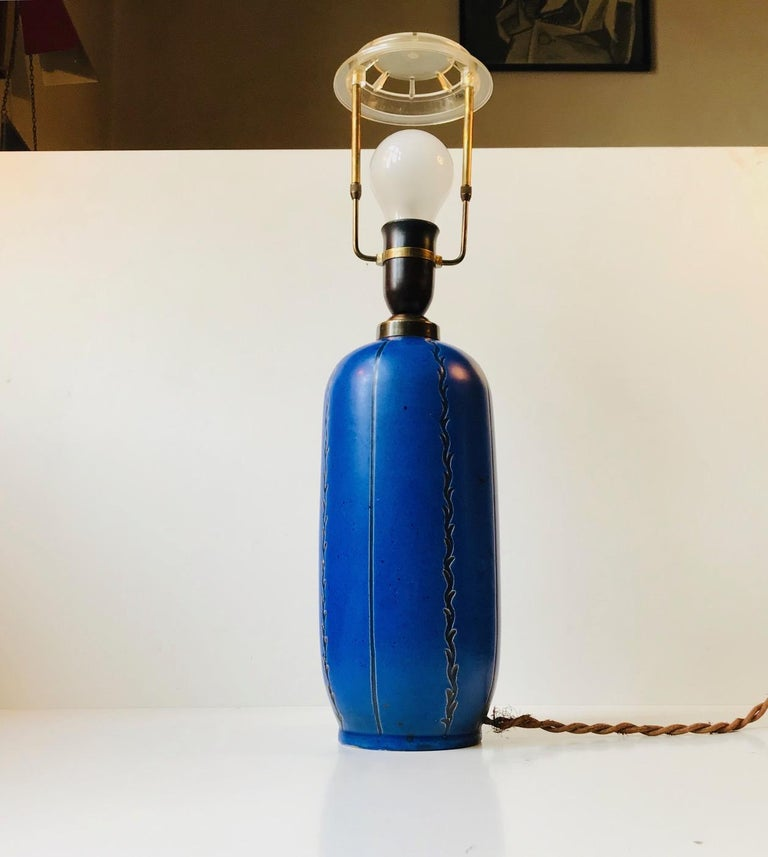 Mid-20th Century Blue Ceramic Art Deco Table Lamp by Søholm, Denmark, circa 1940 For Sale