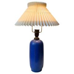 Blue Ceramic Art Deco Table Lamp by Søholm, Denmark, circa 1940
