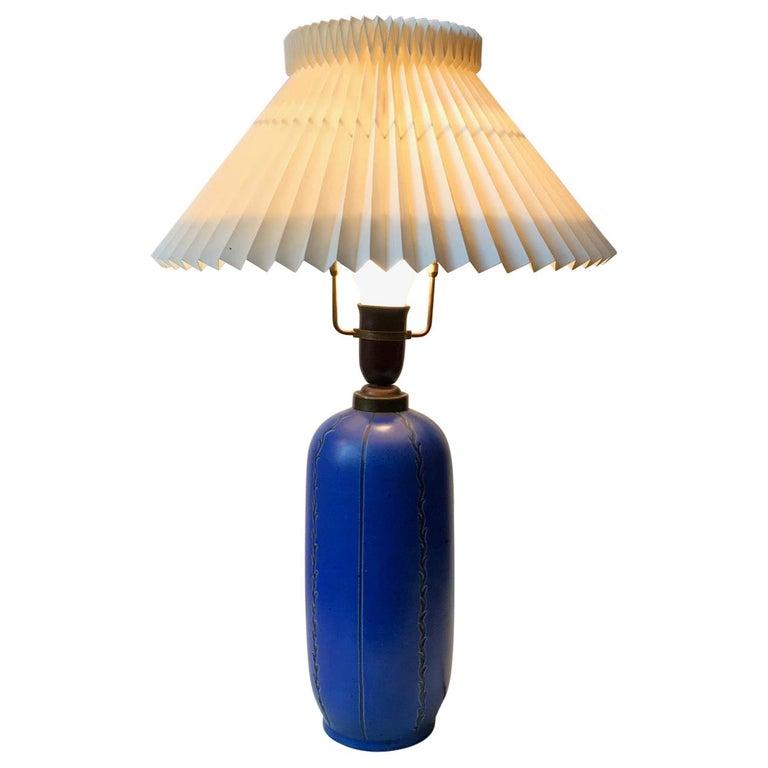 Blue Ceramic Art Deco Table Lamp by Søholm, Denmark, circa 1940 For Sale