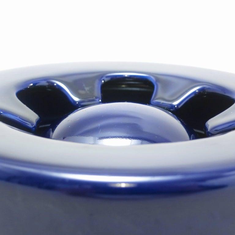 Mid-20th Century Blue Ceramic Ashtray Brambilla by Angelo Mangiarotti circa 1967 For Sale