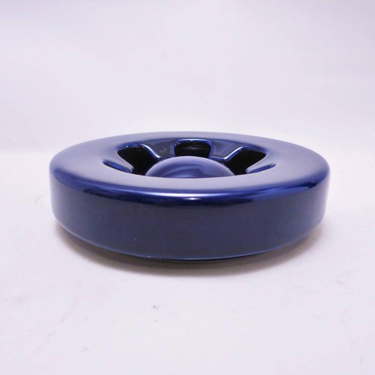 Blue Ceramic Ashtray Brambilla by Angelo Mangiarotti circa 1967 For Sale 2