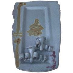 Blue Ceramic Candleholder Wall Hanging
