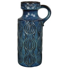 Blue Ceramic Floor Vase with Handle by Scheurich, Western Germany, 1960s