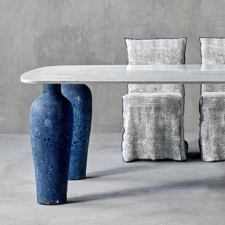 Dining table blue ceramic long with Carrara white and