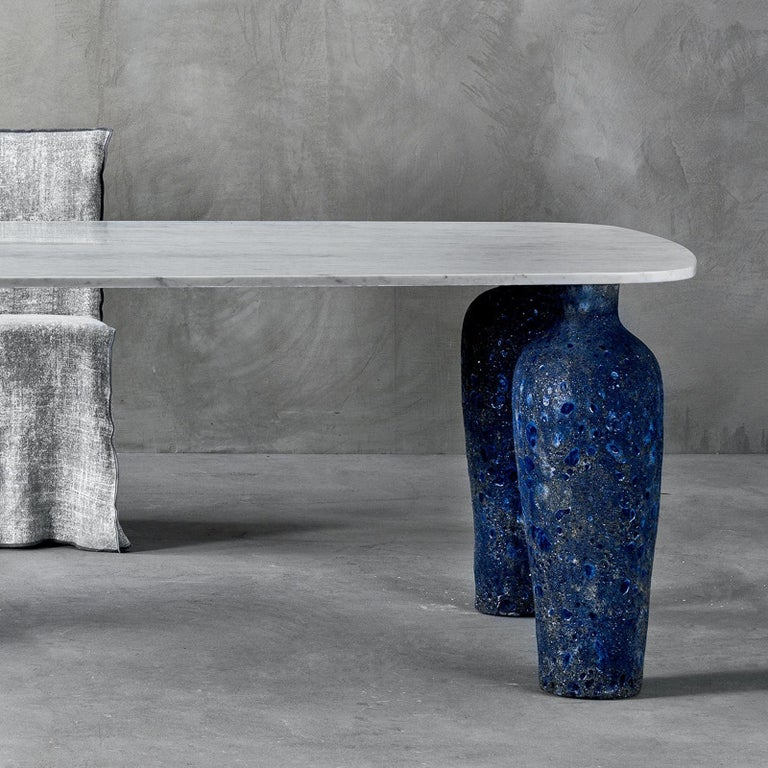 Italian Blue Ceramic Long Dining Table For Sale
