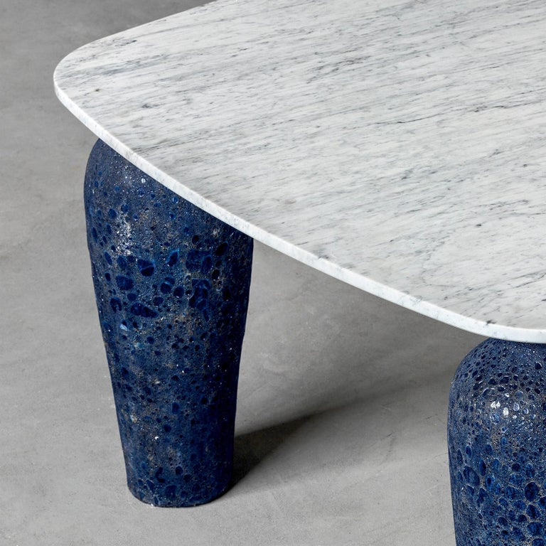 Hand-Crafted Blue Ceramic Long Dining Table For Sale