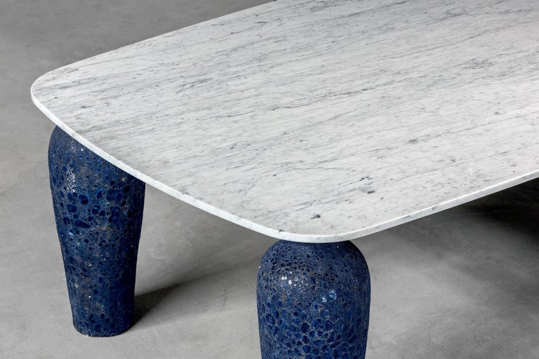 Blue Ceramic Long Dining Table In New Condition For Sale In Paris, FR
